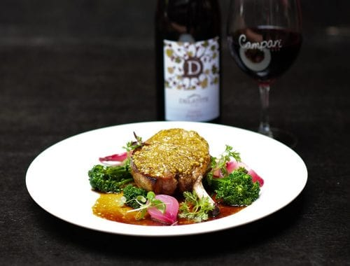 Pistachio crusted pork loin with Delatite Pinot