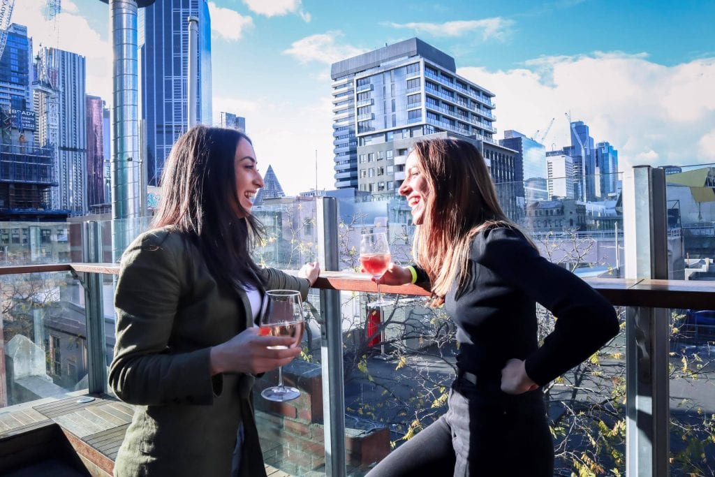 drinks on a Melbourne rooftop